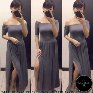 (REG/PLUS SIZE) Dahlia 3-Way Long Dress ASH GRAY