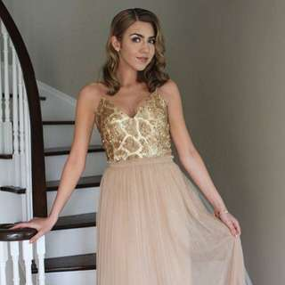 Champagne Gold Prom dress from Honey WORN ONCE over 50% off