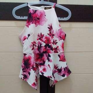 Peplum flower pink top