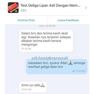 #Feedback on Informative Post : Test Geliga Lipan Dengan Membakar