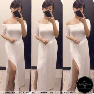 (REG/PLUS SIZE) Dahlia 3-Way Long Dress PURE WHITE