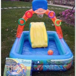 splash swimming pool with slide 188*154*37cm