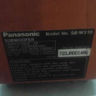 Panasonic subwoofer and speakers