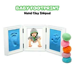 FREE POS Ready Stock Creative DIY Soft Clay 3D Baby Hand Footprint Kit With Photo Frame Gift Toys