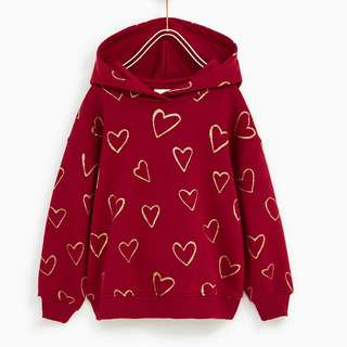 Authentic BNWT ZARA Kids Heart Prints Sweatshirt with Hoodie (12-13 years old)