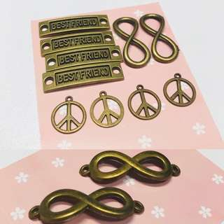 Bronze Metal Charms: Friendship, best friends, infinity, peace series