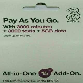 EUROPE 歐洲多國 數據卡 30日 4G/3G 5GB 上網卡 +3000分鐘通話 SIM CARD