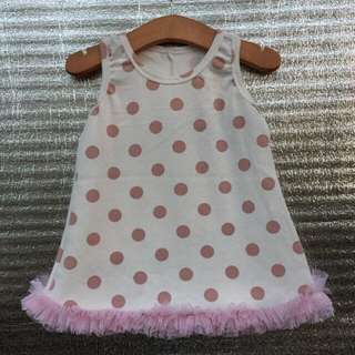 Violet/Beige Polka Ruffled Dress