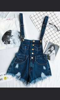 Denim Dungaree Overall Ripped Frayed Shorts