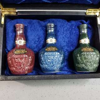 3 collectors Miniature Royal Salute in box