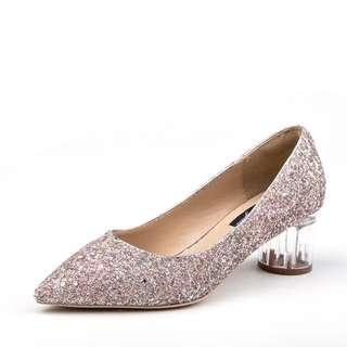 歐美玻璃透明跟尖頭鞋新娘鞋