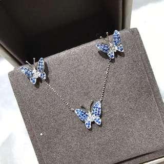 18k金鑽石💎藍寶石頸鍊,💫0.24ct $2380  18k金鑽石藍寶石耳環,💓0.36ct,🉐$2680