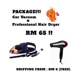 (PACKAGE) Car Vacuum Cleaner + Hair Dryer :