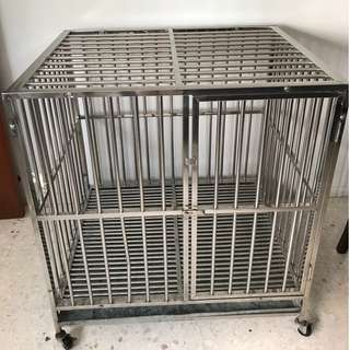 Dog pets stainless steel cage