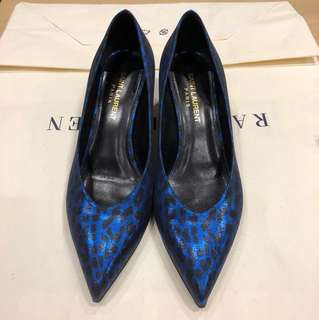 執屋:Saint Laurent metallic blue leopard print pumps