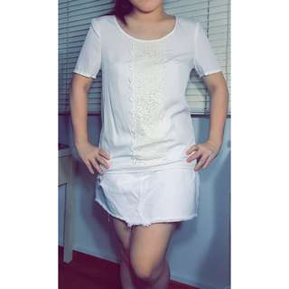 Classy Esprit White top with lace - $15 only