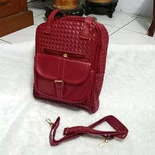 2 in 1 bag tas cewek maroon