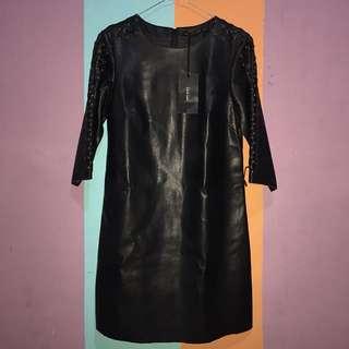 [JUAL RUGI] Black Faux Mini Dress With Straps