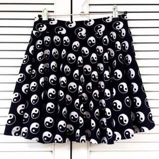 🌸Yin Yang Print Highwaist Skater Skirt with Inner Safety Shorts