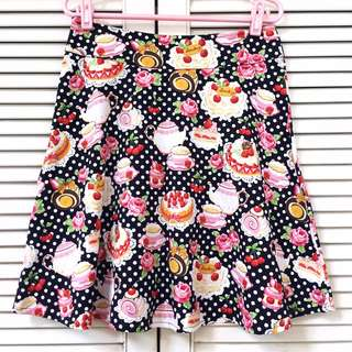 🌸Tea Time Sweets Illustration Polkadot Print Skirt