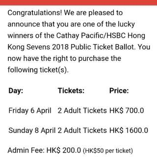 Hong Kong Rugby Seven 2018 Ticket Rugby 7 Friday Sunday