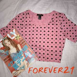 Forever 21 Pink Hearts Crop