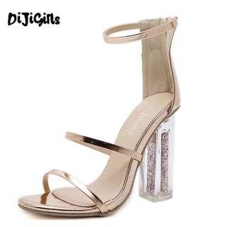 Crystal glitter glass heels