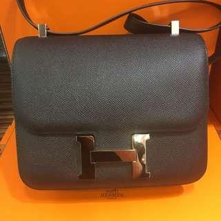 正品 98%新 Hermes Constance 24 黑色銀扣Epsom 上膊斜揹袋