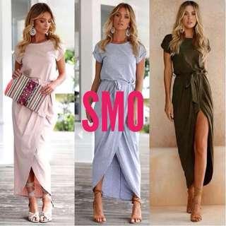 SLIT WAISTED STRING DRESS
