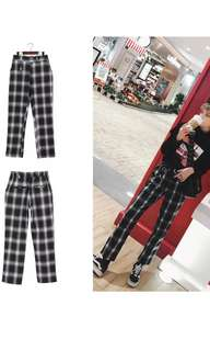 Kawaii high waist plaid straight leg pants