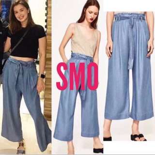 WAISTED BELT DENIM LOOSE PANTS
