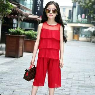 2 Piece Set Girls Chiffon Top and Pants Offer!