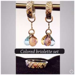 Earring set with coloured stones and diamonds