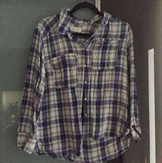 Vince Camuto loose fit plaid shirt