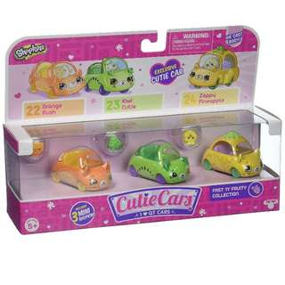 BNIB SHOPKINS CUTIE CARS 3 IN A PACK (FRUITY COLLECTION) @ $25 ONLY!!!