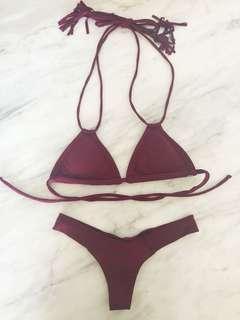 Montce swim M maroon triangle tassel bikini