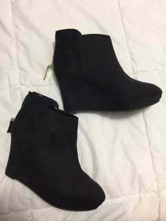 Black Wedge Heel Booties Size 8