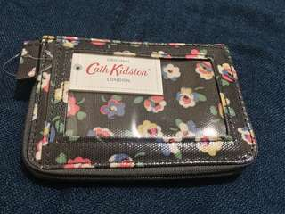Cath Kidston Zipped Travel Purse Cotton Ditsy Charcoal