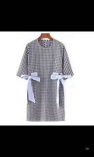 Women's retro color fight lattice grid bow loose dress seven sleeve thin straight dress