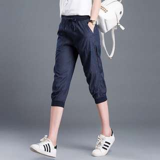 LADIES 3/4 DENIM HAREM JOGGER PANTS