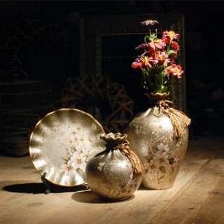 (1套/1set) 歐式創意陶瓷三件套花瓶擺設 (包Buyup自取站取貨) (優居系列) (decoration porcelain vase & dish set)
