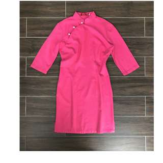 Pink quarter sleeve qipao Chinese traditional qiongsam
