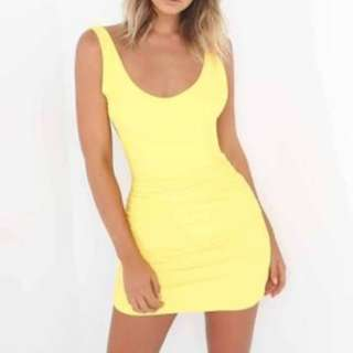 Tiger mist yellow backless dress