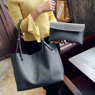 Large Gray Tote with Free Pouch