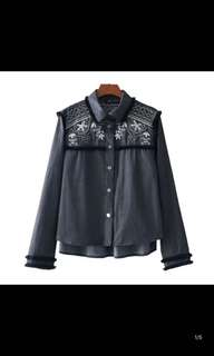 Women's new tassel decorative chest embroidery Sequin long-sleeved shirt