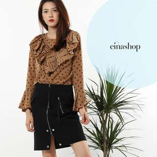 [50% OFF WITH FREE GIFT] EMEBER RUFFLE BLOUSE IN BROWN EINASHOP.COM