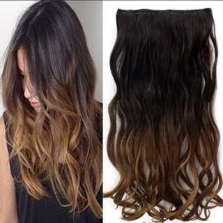 Sales 📣 Ombre Black to Dark Brown 5 clips Curly Hair Extensions Clip on