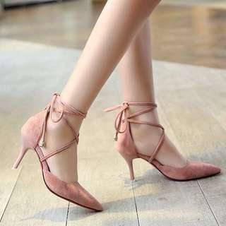 Korean style high heel monochrome mono coloured shoe stiletto crossover ribbon criss cross lace suede leather sharp pointed toe tip