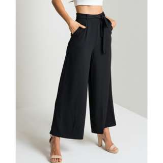 (2 Colours) Premium belted high waist black culottes flare pants!