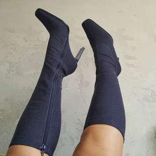 Knee High Denim Sock Boots